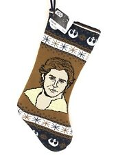 "Disney Star Wars Han Solo 20"" Knit Christmas Stocking Brown & Blue NWT"