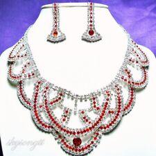 Austrian Ruby Red Rhinestone Crystal Silver Bridal Necklace Earrings Set S1293R