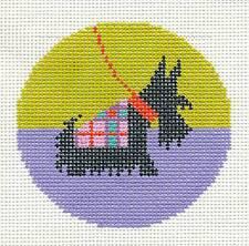 "LEE Black Scottie Dog handpainted Needlepoint Canvas 3"" Rd. Ornament or Insert"