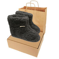 Box /&Gift Bag Mens Womens Pure Sheep Wool Boot Slippers Real Leather Suede Sole