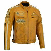 Cafe Racer Motorrad Leder Jacke Herren Motorrad Chopper Cruiser Leder Jacke Neu