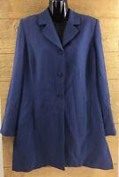 Anna Carole Women's Long Blazer Jacket Size 8 Blue 3 Button Top Dressy