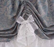3.15 x 50cm d Austrian Valance Blue Curtain White Lace+ Satin Edged Organza Bows
