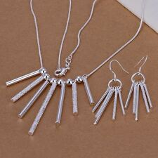 charms women silver Plated Fashion Beautiful Cylinder Necklace Earring set S159