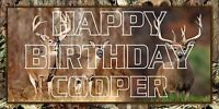Personalized Camouflage Birthday Party Banner 2 x 4 Hunting Deer Whitetail Camo