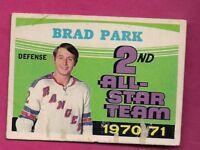 1971-72 OPC # 257 RANGERS BRAD PARK ALL STAR FAIR CARD (INV# A6738)