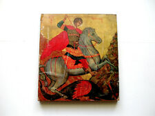 St George And The Dragon  Color Art Print On Paper Adheared to Board