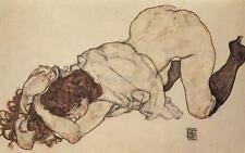 Egon Schiele Kneeling Girl Resting On Both Elbows Erotic 12x7 Inch Print