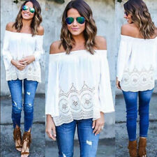 White broderie anglaise off-the-shoulder top - size 8, S