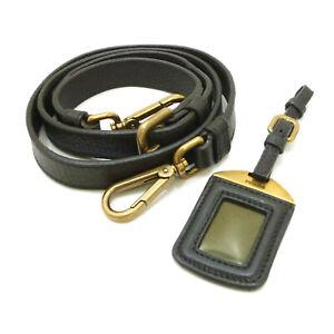 Authentic PRADA Adjustable Shoulder Strap & Name Tag Dark Brown Leather #S405025