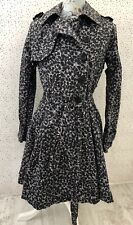 Warehouse Animal Print Grey Mix Flared Style Trench Belted Coat Size 10