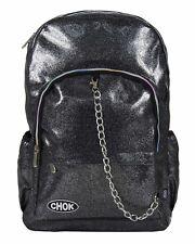 Chok Glitter Grey Reflective Backpack Rucksack Rave Unisex School College Bag