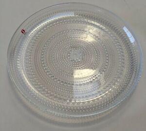 Brand new, un-used, Iittala Kastehelmi clear glass dimpled plate 248mm diameter