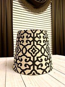 Beautiful Vintage Black & White Lamp Shade Geometric Pattern