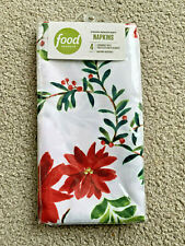 4 Food Network Napkins Cloth polyester poinsettia Christmas holly New In Pkg