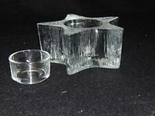 """1980's INDIANA GLASS 2"""" CLEAR TEXTURED """"STAR"""" CANDLE HOLDER w/Glass Insert- MINT"""