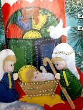 "Adorable Nativity Christmas Stocking 16"" Craft Kit Applique Felt Sequins 5063"