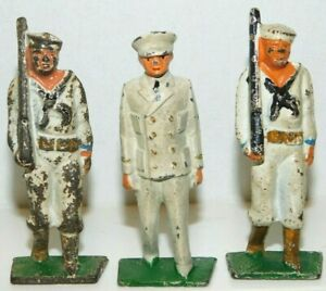 Old GREY IRON 1930s Dimestore Soldiers, 3 US Sailors Marching In White, G64, G68