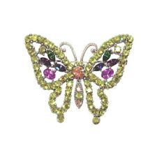 Bella Butterfly Pin Silver-Tone Green & Multi-Color Austrian Crystals