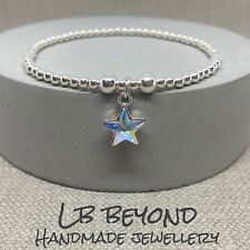 STERLING SILVER STRETCH BEADED STACKING BRACELET WITH SWAROVSKI CRYSTAL STAR 925