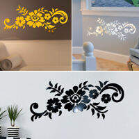 KE_ Acrylic 3D Mirror Flower Pattern Wall Sticker Home TV Background Decal Eye