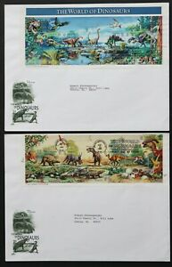 U.S. Used #3136 32c Dinosaurs Lot of 2 ArtCraft First Day Covers. Choice!