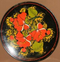 VINTAGE HAND PAINTED RUSSIAN FOLK FLORAL WOOD TOLE PLATE
