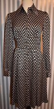 Nanette Lepore Black Cream Polka Dot Silk Dress Button Front Shirtdress SZ 4