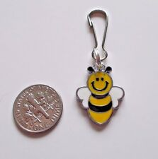New Cute Bumble Bee Enamel Charm Zipper Pull Backpack Clip Silver Plate Alloy