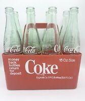 VINTAGE COCA COLA 16 OZ. 8-PACK RED COKE PLASTIC BOTTLE CRATE AND BOTTLES