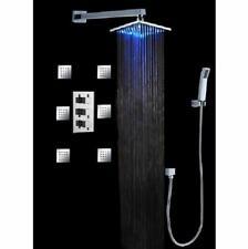 """Luxury Bathroom Rainfall Shower Head Set 12"""" LED Wall mount Massage - Matt Black"""