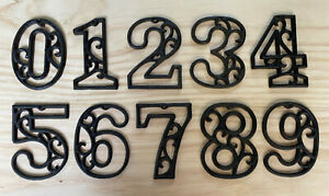 """USA Seller! Primitive Cast Iron Scroll NUMBERS """"0-9"""" Address / Street / House"""