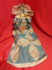 Very Early Rag Doll - Antique Primitive Blue Fabric Textile Dress AAFA