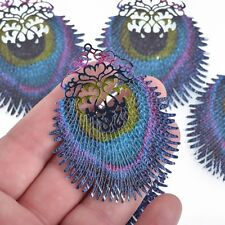 "5 Metal PEACOCK FEATHER Charms Filigree Enamel 2.5"" chs4312"