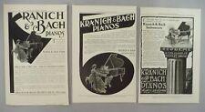 Kranich & Bach Piano LOT of 3 PRINT AD - 1907