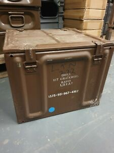 Large British Army Brown Ammo Boxes Tin Container Mortar Military L15A1 49x45x39