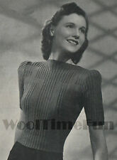 Vintage Knitting Pattern 1940s Lady's Ribbed Jumper. Long & Short Sleeves.