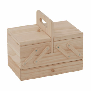 Trimits Wooden Cantilever Sewing Box 3 Tier With Drawer Craft Storage