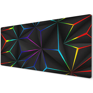 90 x 40cm Extra Large Mouse Mat Pad Gaming PC Geometric Black Neon Teal Purple
