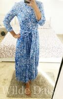 ZARA NEW BLUE & WHITE LONG FLORAL PRINT DRESS SHIRT MARILYN BELTED SIZE XS-XXL