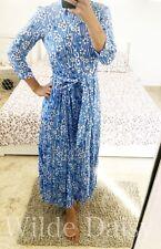 ZARA NEW BLUE & WHITE LONG FLORAL PRINT DRESS SHIRT MARILYN BELTED SIZE XS-XXL