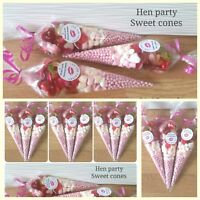 pre filled hen party themed sweet cones personalised party bags love pink cones