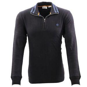 TIMBERLAND Herren CAONOE RIVER 1/2 ZIP Polo Shirt Troyer Black A2E8C Größe L