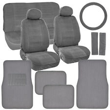 Classic Gray Seat Covers for Car Truck SUV Auto w/ Ribbed Floor Mats