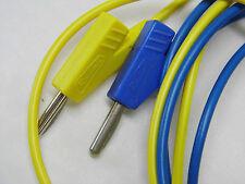 2 Cordons Fiche Banane diam:4mm + repiquage 1.5M - Bleu et Jaune de chez Radiall