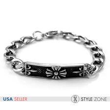 Men's Vintage Gothic Cross on Badge Stainless Steel Bracelet Link Chain Cool B46