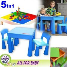 5in1 Multi Use Table &2 Chairs Set for Children Kids Activity ,Lego, Water BLUE