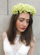 Large Yellow Green Rose Flower Hair Crown Garland Boho Headband Festival Big V95