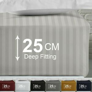 25 CM Satin Stripe Fitted Sheet Wrinkle Resistant Bed Sheet Double King Sizes UK