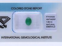 natürlicher 1,60 Karat Smaragd Oval green IGI Expertise